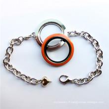 Bracelet flottant à grille ronde à motif nouveau design pour charmes