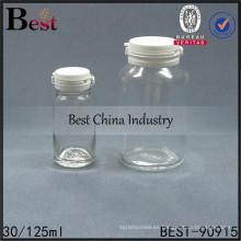 botella de tapa de lágrima, botella de vidrio cosmética clara, botella de vidrio de 125 ml, 1-2 muestras gratis
