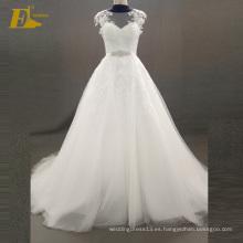 ED nupcial elegante una línea de tapa de manga cubierta de botones de vuelta de cuentas de Tulle vestido de novia vestido de novia