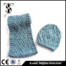 2016 nueva bufanda y gorrita tejida del invierno de la manera, sombrero de la bufanda del regalo de la Navidad fijados