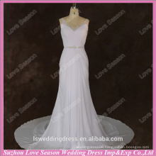 RP0077 beaded straps crystals diamond waist V back buttons gathered chiffon wedding dress with empire belt