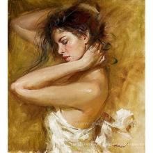 Aceite hecho a mano en la lona Arte de la pared de la pintura del bailarín de ballet para la sala de estar (EIF-185)