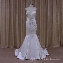 Romántica promoción sin mangas blanco satinado vestido de novia de dos piezas