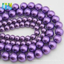 YIWU Pearl Jewelry 12mm Cuentas de perlas de vidrio de imitación Dark Purple