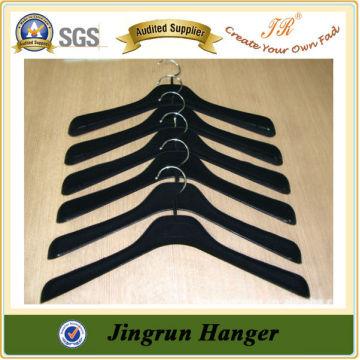 New 2016 Cheap Garment Hanger Black Velvet Plastic Hanger for Clothes