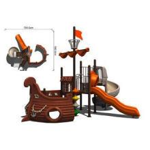 Outdoor Wooden Train Playground Equipment for Amusement Par