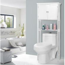 Hölzernes stehendes hohes weißes Badezimmer-Kabinett