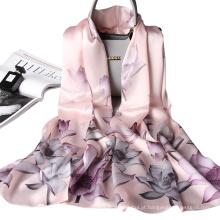 Peso leve decorativo primavera verão mulheres floral impresso fábrica romântico xale lenço de seda