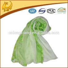 Spring Green Digital impressa 100% lenço de seda chiffon redonda para mulheres