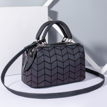 Custom PU leather geometric pillow bag luminous handbags