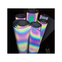 Heat transfer printed colored rainbow reflective fabric for running clothing