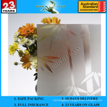 3-8mm Clear Rh-1 Acid Etched Patterned Glass with AS/NZS2208: 1996