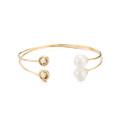 Joyería de moda estilo occidental nuevo diseño brazalete de latón cristal y brazalete de perlas