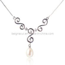 925 Серебряное ожерелье из пресноводного пика