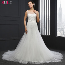 SL031 Cheap Sheer Neckline Long Backless Crystal Wedding Dresses 2016