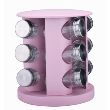 20-jar pink revolving spice rack with glass bottles