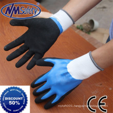 NMSAFETY Wear Resistant Nylon Nitrile Gloves Double Color Two Dipped Nitrile Gloves Safety Gloves
