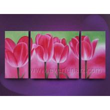 Whoesale Pintura a óleo bonita da flor na lona (FL3-190)