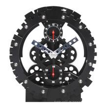 Deutschland Black Round Table Gear Clock