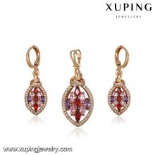 64224 dubai gold jewelry set  wedding jewelry designs delicate multicolor diamond gold plated jewelry sets