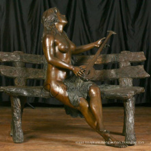 outdoor garden decoration metal craft girl nude garden statues