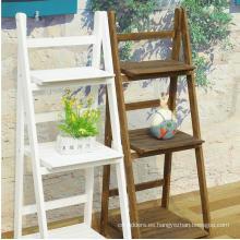 Anticorrosive wood flower multi-layer outdoor balcony floor indoor folding ladder shelf storage