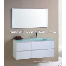 New MDF bathroom furniture Glass basin super white