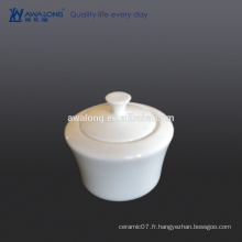 Custom Bone china High brightness White Plain fine en pot de sucre en céramique