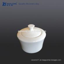 Custom Bone china Alto brilho Branco Plain bacia de açúcar cerâmica fina