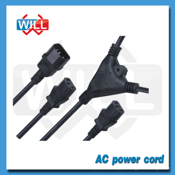 Cable de alimentación caliente del divisor de la aprobación UL CUL de la venta CUL con el extremo femenino dos