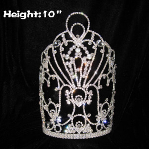 10in Height Unique Classic Pageant Diamond Crowns