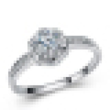 Mulheres 925 Sterling Silver Ultra High-End Moda Incrustada Anel De Diamante