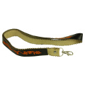 PU Leather ID Card Lanyard Custom Embroidery Logo