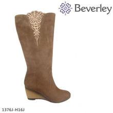 конкурентоспособная цена фабрики модные безопасности сапоги для женщин дамы коричневый кожаный колено высокие сапоги