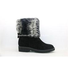 Fashion Warm Fur Low Heel Women Leather Boots