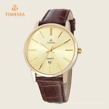 Arbeiten Sie Edelstahl-Leder-Mann-analoge Quarz-Armbanduhr 72303 um