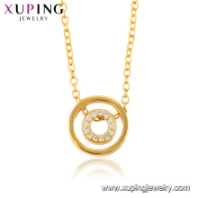 44436 xuping jewelry 24k gold plated double round eternity fashion necklace