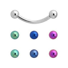 Titanium Colored Balls Charming Curved Barbell