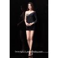 New Style Custom Made Elegant A-line Sweetheart black chiffon with beading formal Short evening dress prom dresses ED76