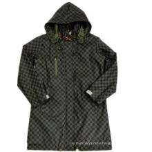 Black Hooded Check Waterproof PU Raincoat