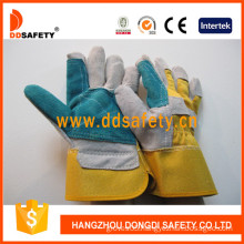 En388 4224 Grey Cow Split Blue Leather Reinforced Glove Yellow Cotton Back Safety Gloves Dlc324