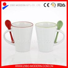Tazas de café de viaje de cerámica al por mayor tazas con cuchara en la manija