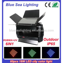 60pcs x 18w rgbwa uv 6in1 outdoor led wall washer