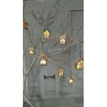 LED Light Wooden House Villa Christmas Ornaments Xmas Tree Hanging Decor