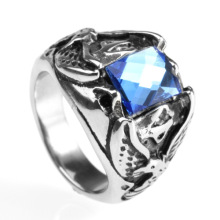 Special design square blue gem rings