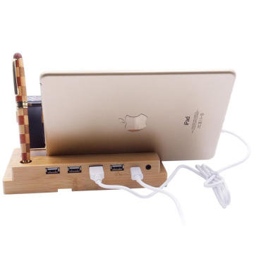 bamboo wood charging stand with USB 2.0 4 port hub port for all mobile phone