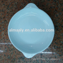 high white ceramic deep plate with handle for star hotel