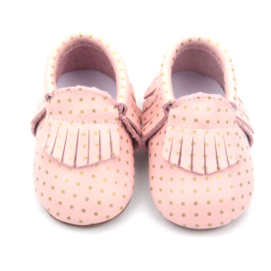 Zapatos de punto de cuero genuino Pink Kids Cute