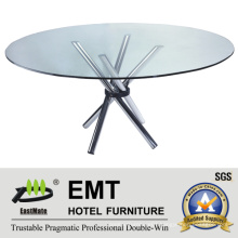 Futuramic Hotel Furniture Restaurant Furniture Glass Dining Table (EMT-FT608)