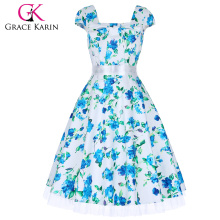 Grace Karin Cap manga cuello cuadrado verano impresión floral vestidos de algodón CL4598-8